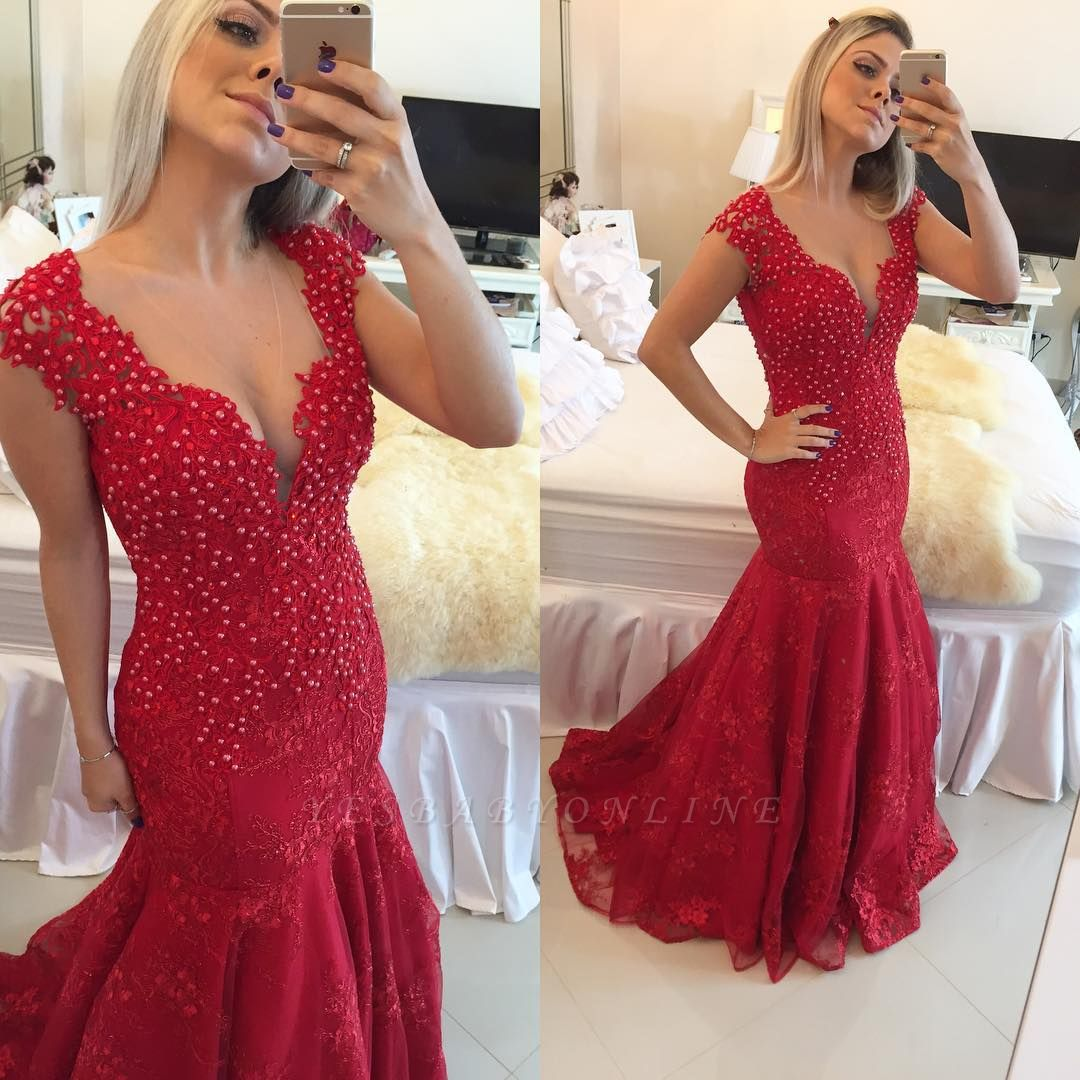 Mermaid Delicate Red V-neck Lace Cap-Sleeve Pearls Prom Dress