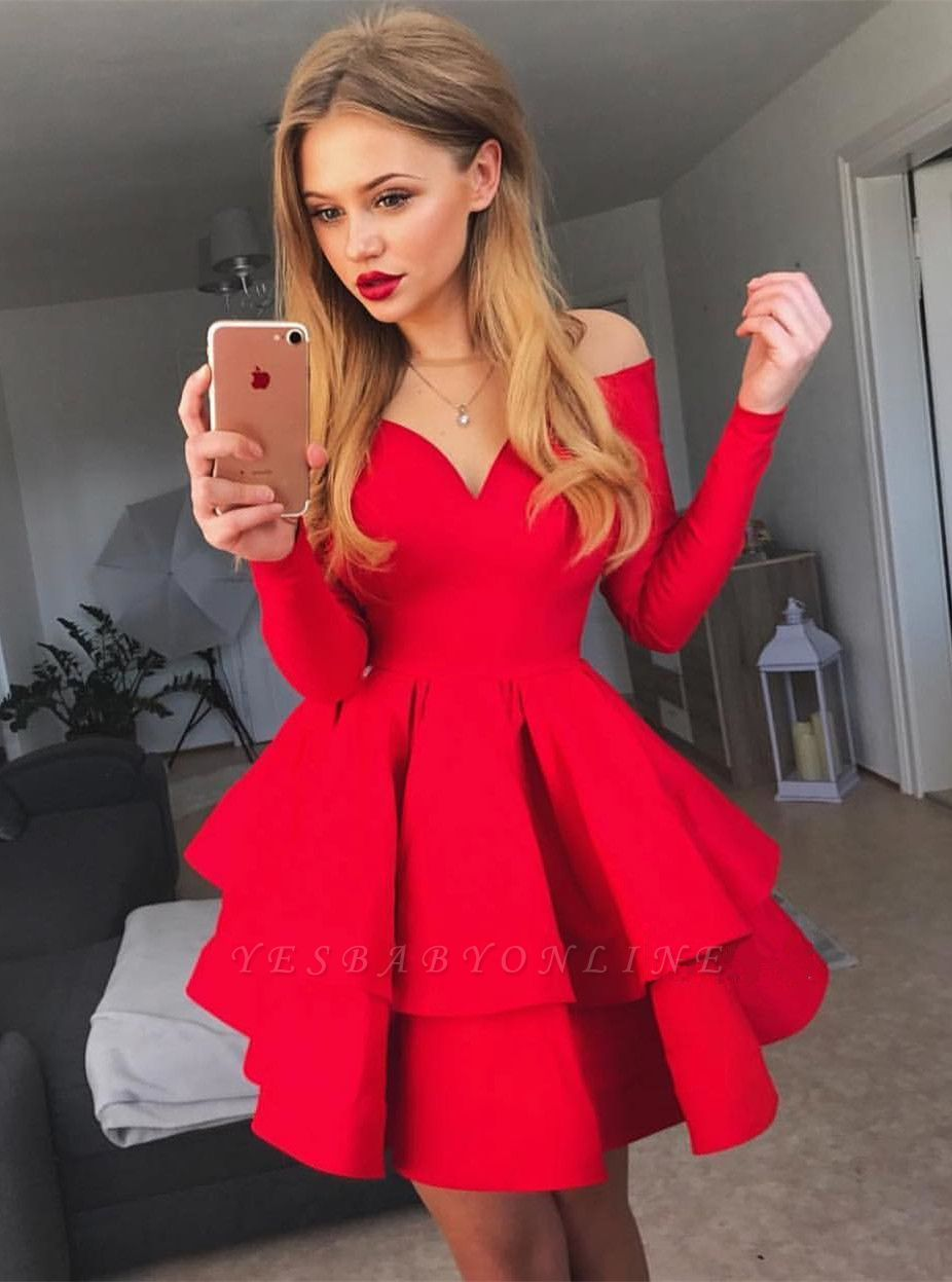 Delicate Red Long Sleeve Ruffled Homecoming Dress | Off-the-shoulder Short Dress
