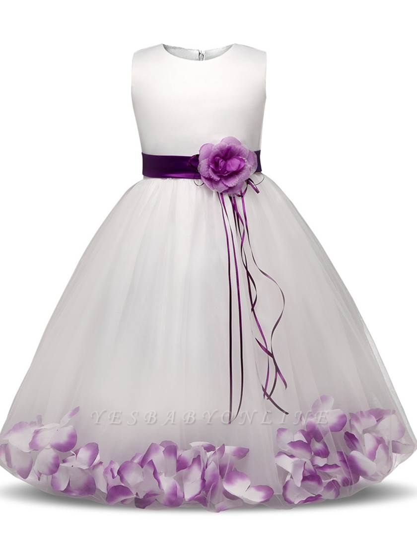 Lovely A-Line Tulle Scoop Appliques Sashes Ankle-Length Flower Girl Dress