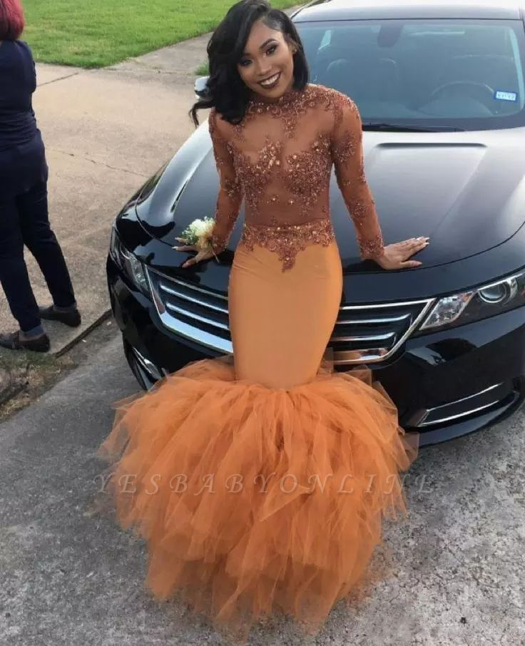 Sexy Dark Orange Prom Dresses   Sheer Appliques Long Sleeves Evening Gowns