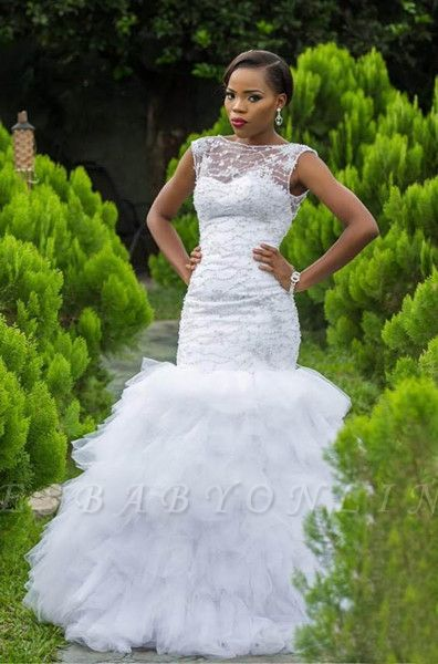 Scoop Straps Beading Tiered Ruffles Fit And Flare Mermaid Wedding Dress