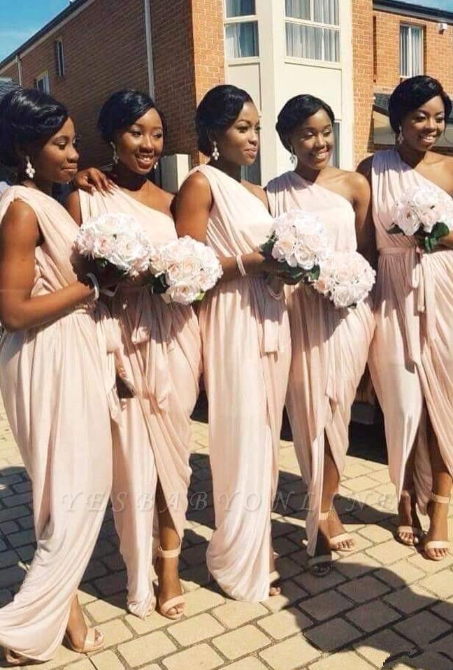 Front-Split A-line Long One-Shoulder Sleeveless Elegant Bridesmaid Dress