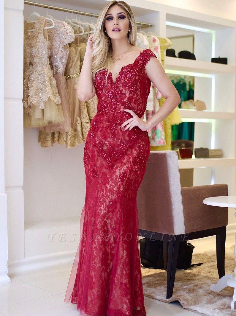 Mermaid Beading Sleeves Cap V-Neck Glamorous Lace Prom Dresses