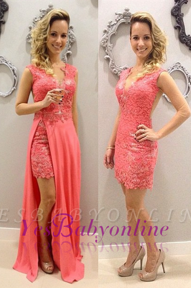 Train Detachable Lace Elegant V-neck Chffion Sleeveless Pink Short Evening Dresses