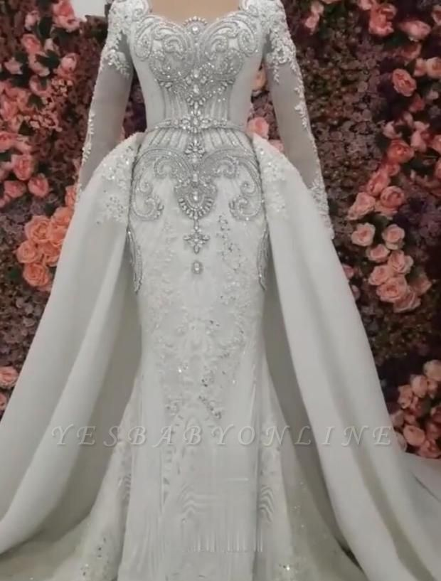 Sweetheart Crystal Fitted Wedding Dresses with Detachable Train and Sleeves