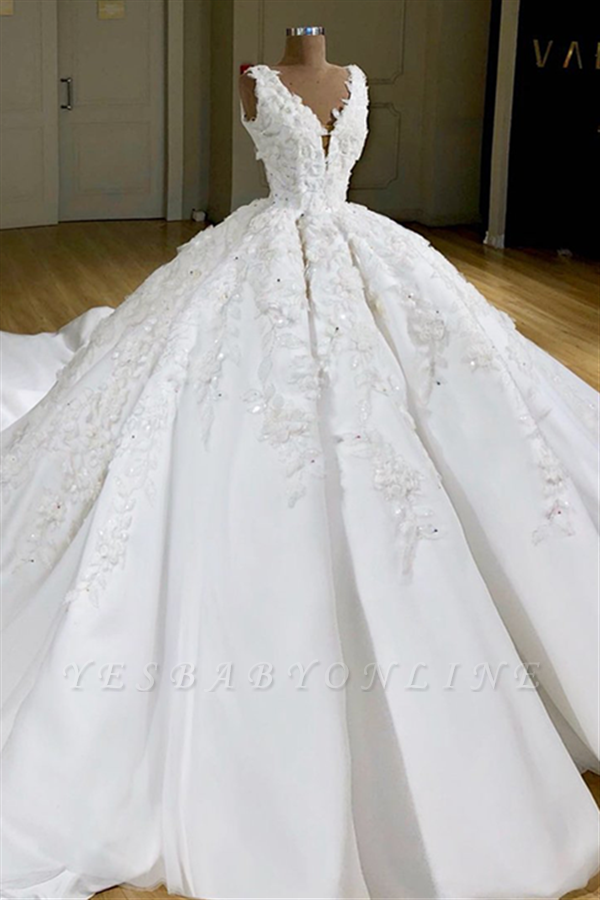 Sleeveless V-neck Lace Ball Gown Wedding Dresses | Gorgeous Bridal Gown