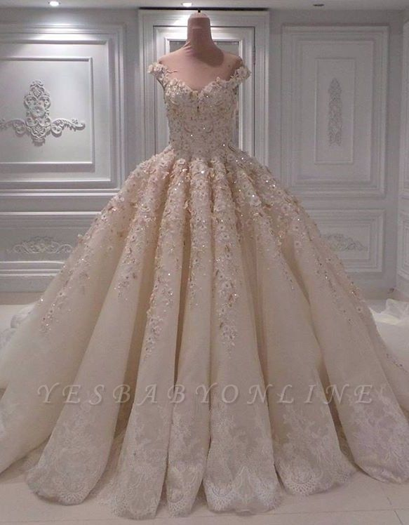 Lace Appliques Sweetheart Off the Shoulder Ball Gown Wedding Dresses