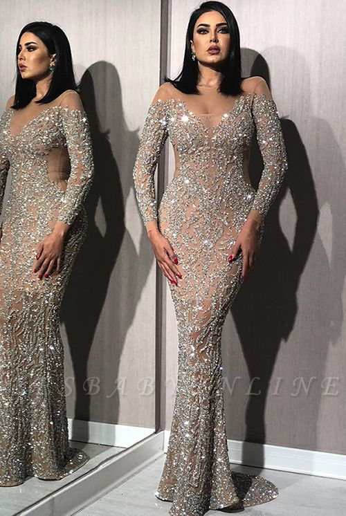 Silver Crystals Long Sleeve Prom Dresses Cheap 2019   Nude Inner Lining Sexy Mermaid Evening Gowns BC1612
