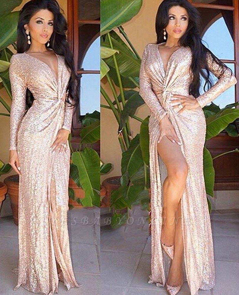 Shiny Sheath Sequined Prom Dress | Deep V-Neck Long Sleeves Side Slit Evening Dress