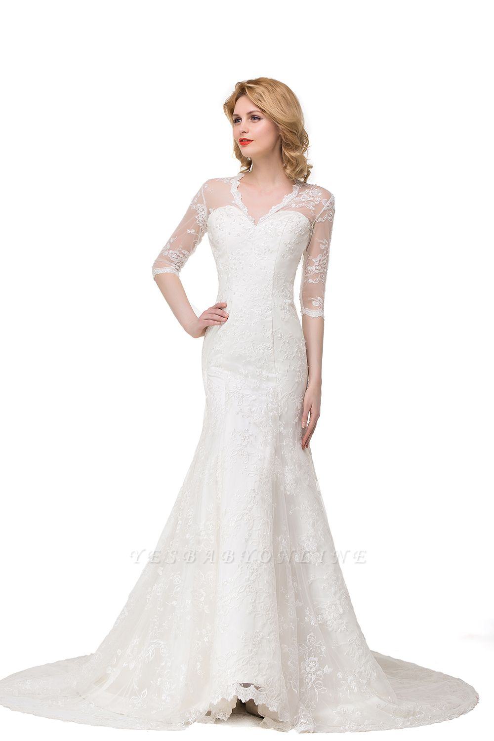 Zipper Glamorous V-Neck Half-Sleeves Lace Mermaid Wedding Dresses