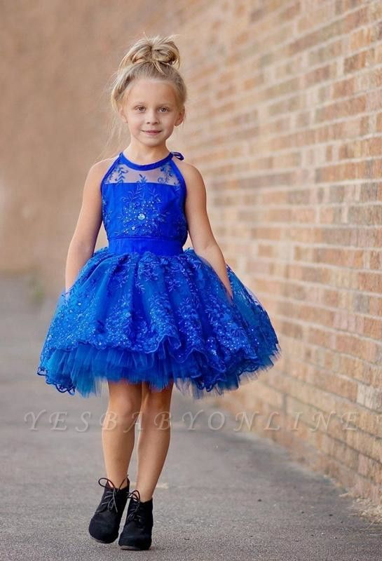 Cheap Royal Blue Lace Appliques Halter Puffy Mini Flower Girl Dress