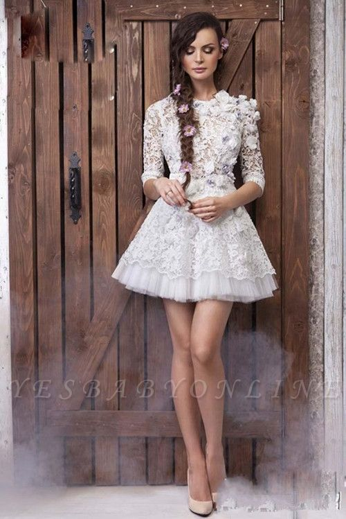 Sexy 3D-Floral Half-Sleeves Short See Through Appliques Wedding Dresses