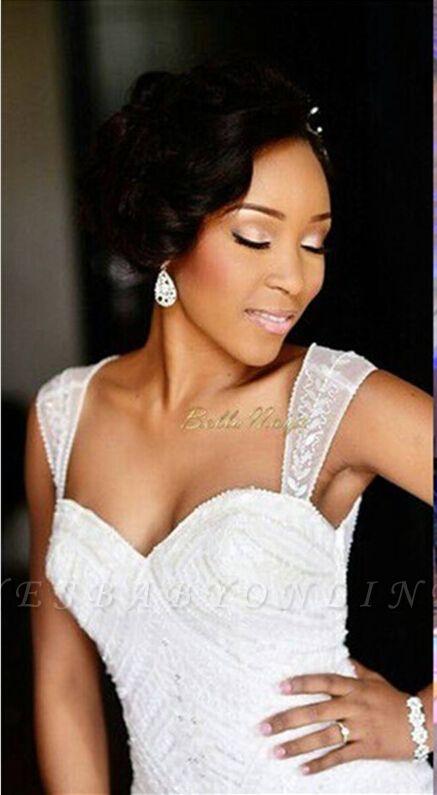 Charming Mermaid Wedding Dresses | Beaded Ruffles Skirt Bridal Gowns