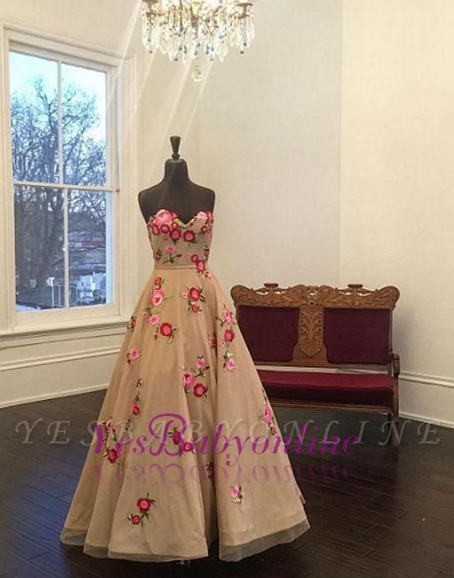 Sweetheart Champagne Applique A-line Flowers Evening Dress