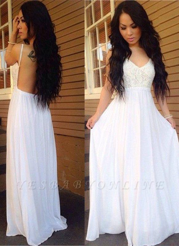Lace White A-line Spaghetti-Strap Chiffon Newest Backless Prom Dress