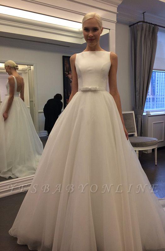 Glamorous Jewel Backless Sleeveless A-line Lace Wedding Dress
