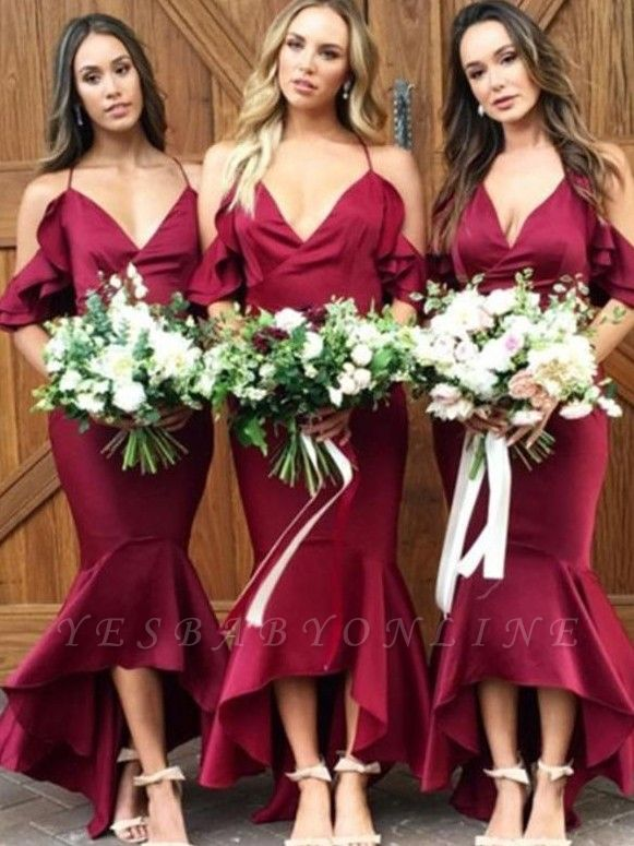 High-low V-Neck Bridesmaid Dresses | Mermaid Spaghetti Straps Maid of the Honor Dresses with Ruffles