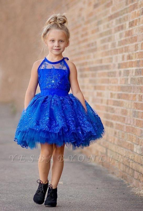 Cheap Royal Blue Lace Appliques Halter Puffy Mini Flower Girl Dress