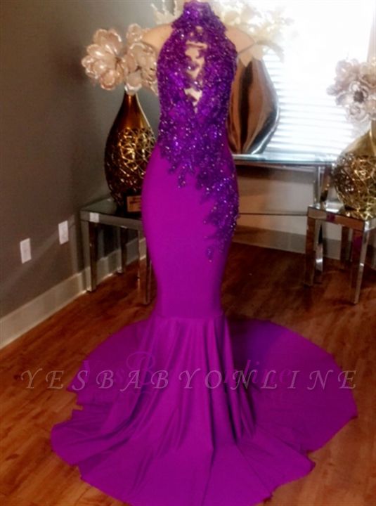 High-Neck Dresses Sleeveless Lace-Appliques Beaded Mermaid Prom Court Train BA5118