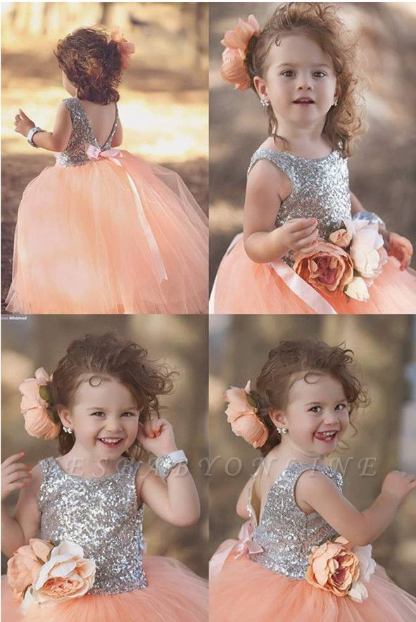 Tulle Sweet Sequined Flower Girl Dresses | Lovely Sequined Girls Pageant Dress BA0657