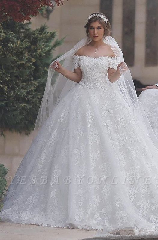 Arabic Off-Shoulder Ball-Gown Appliques Sweetheart Lace-Up-Back White Wedding Dress
