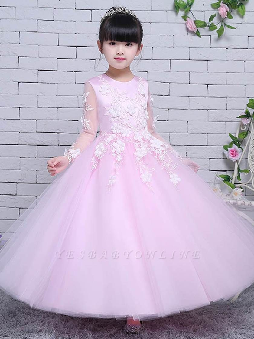 Lovely A-Line Tulle Lace Jewel Long Sleeves Flower Girl Dress