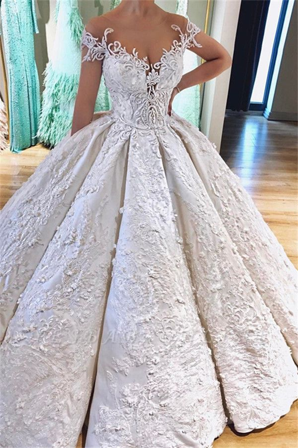 Off the Shoulder Lace Appliques Ball Gown Princess Wedding Dresses