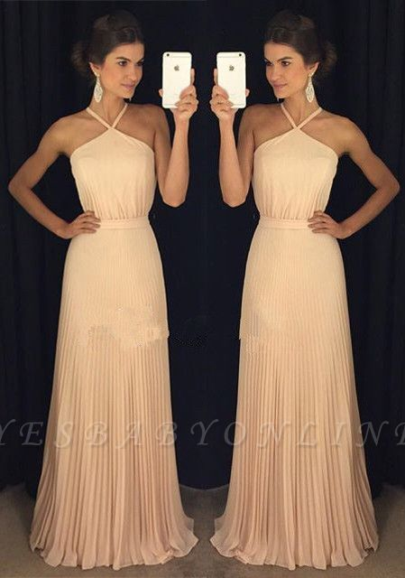 Gorgeous Ruched Long Prom Dresses Halter Neck Elegant Evening Gowns