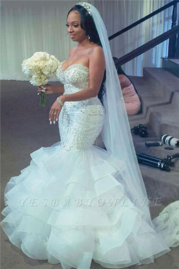 Sexy Sweetheart Applique Crystal Ruffles Fitted Mermaid Wedding Dresses