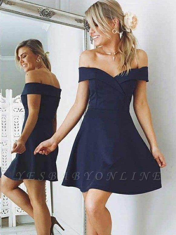 Elegant A-Line Short Homecoming Dresses | Off-the-Shoulder Backless Cocktail Dresses