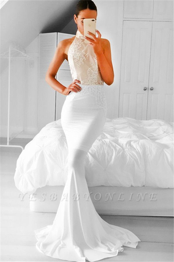 Halter Appliques Mermaid Simple Sleeveless Prom Dress