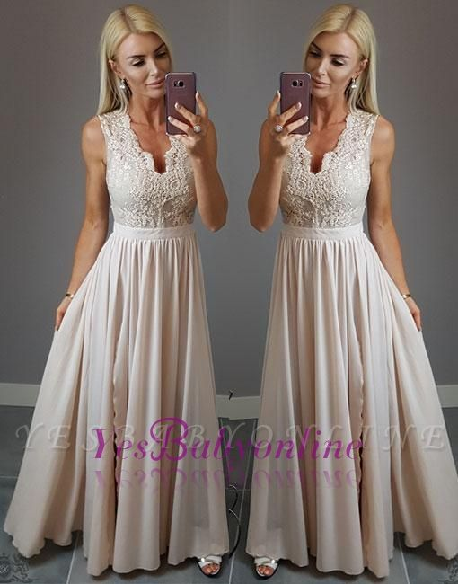 Split-front V-neck Lace Stylish  Champagne Evening Dress