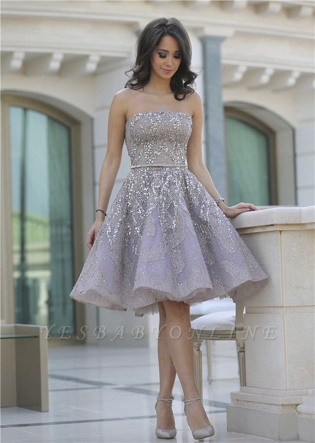 Gorgeous Full Sparkly Beads Knee Length Prom Dress Silver Sequins Organza New Homecoming Dress CJ0371
