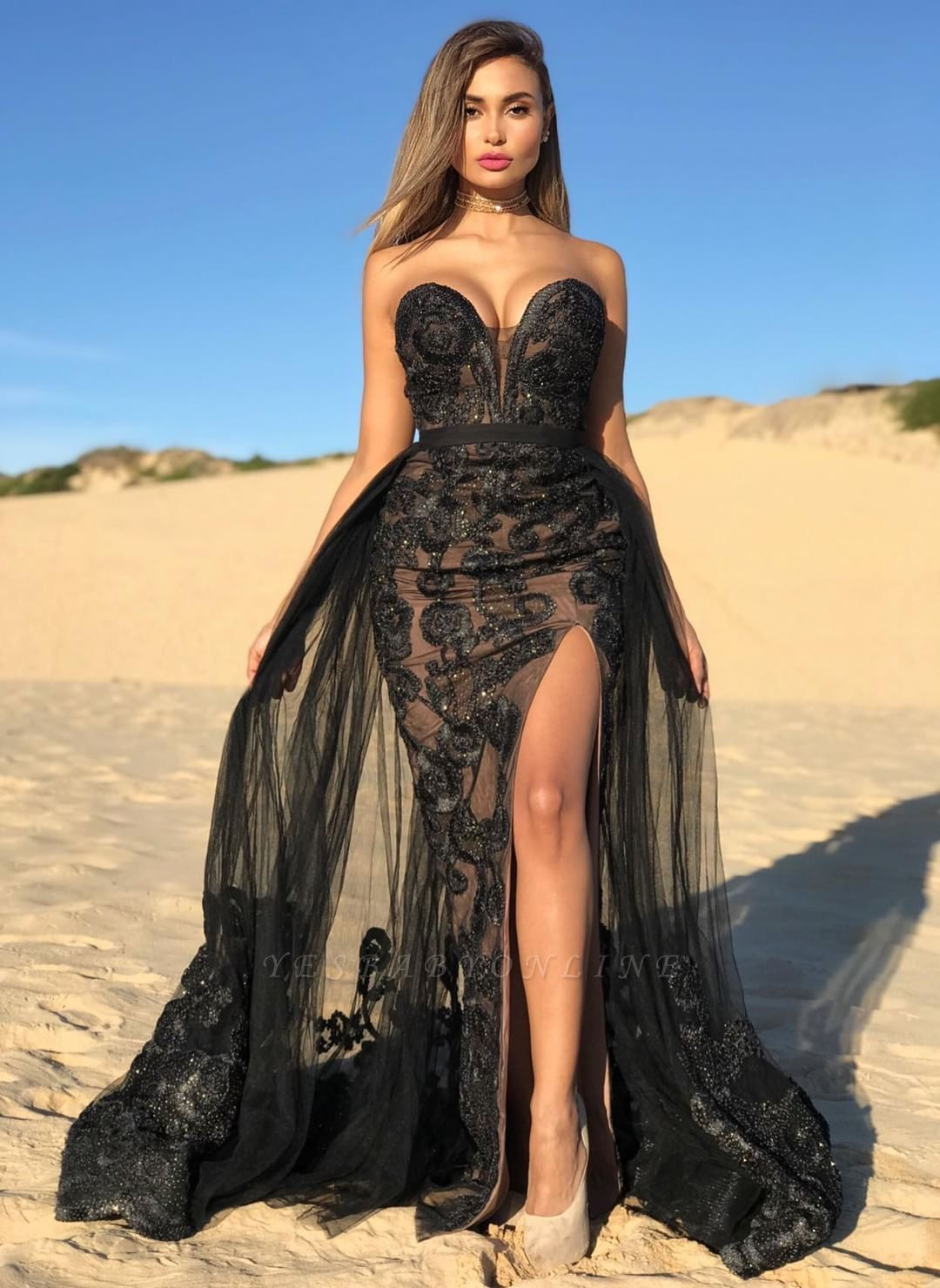 Black Sweetheart Backless Front Slit Applique Beading Prom Dresses   Sexy Party Dresses With Detachable Skirt