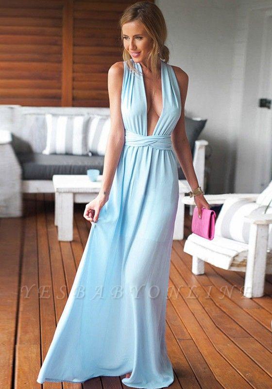 Long Floor-Length Sleeveless Beautiful Criss-Cross Prom Dress