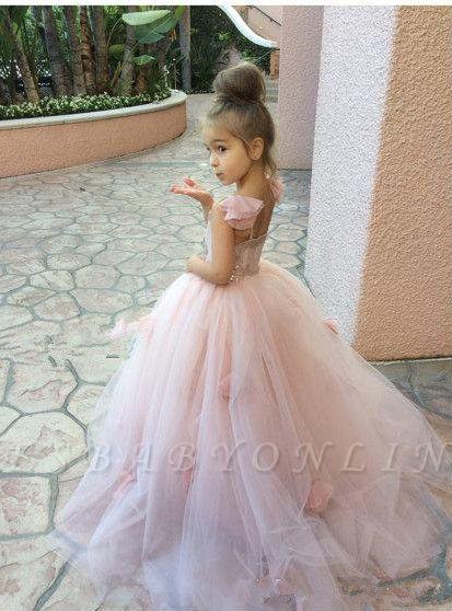 Sweet Pink Tulle Flower Girl Dress | Cute Long Children Dresses BA1419