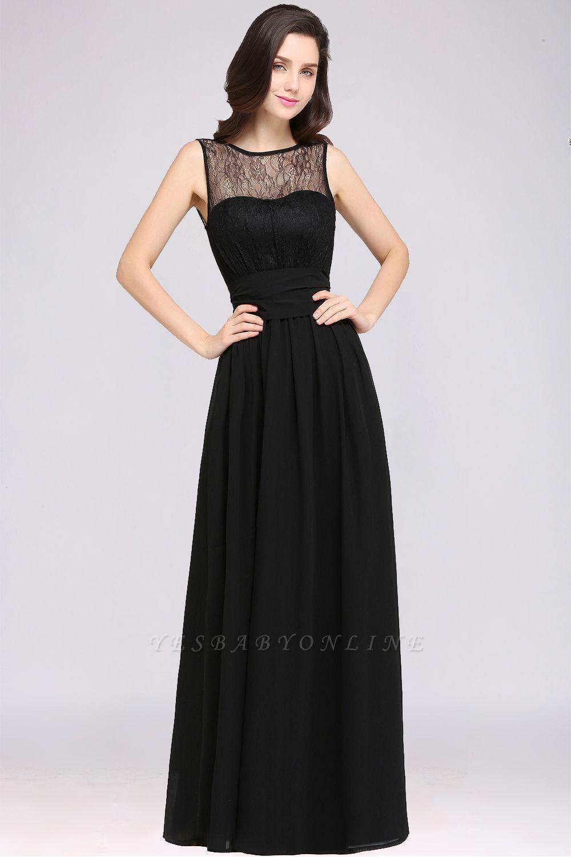 A-Line  Lace Jewel Sleeveless Keyhole Floor-Length Bridesmaid Dresses