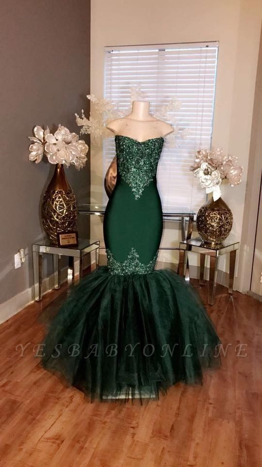 Tulle Sweetheart Appliques Prom Mermaid Long Dresses Sleeveless
