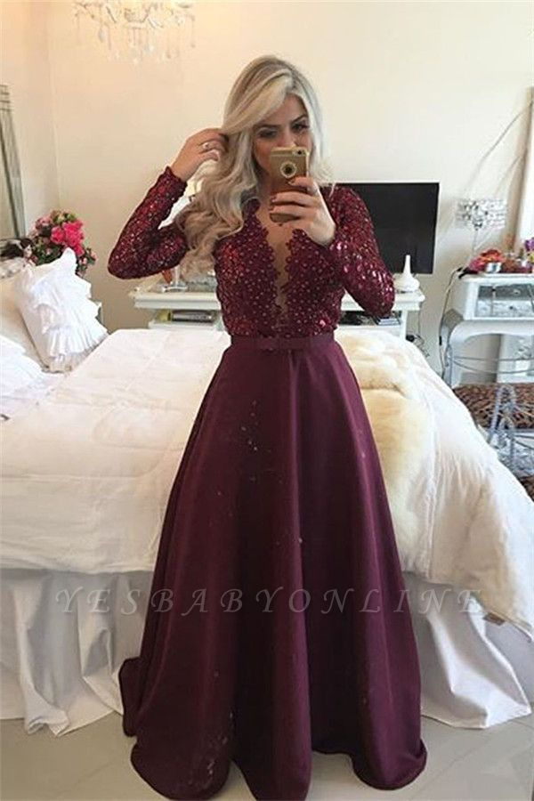 Beadings Sexy Lace Burgundy A-Line Long-Sleeves Prom Dress