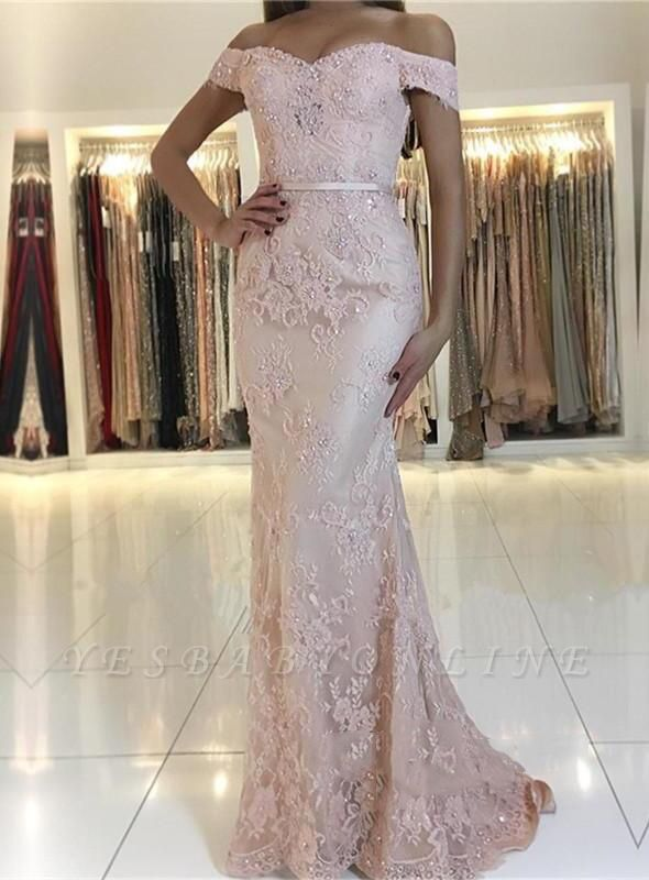 Charming Mermaid Lace Prom Dresses | 2019 Off-the-Shoulder Floor-Length Evening Gowns