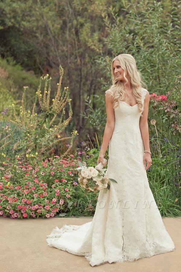 Classic Straps Long Mermaid Lace Wedding Dresses