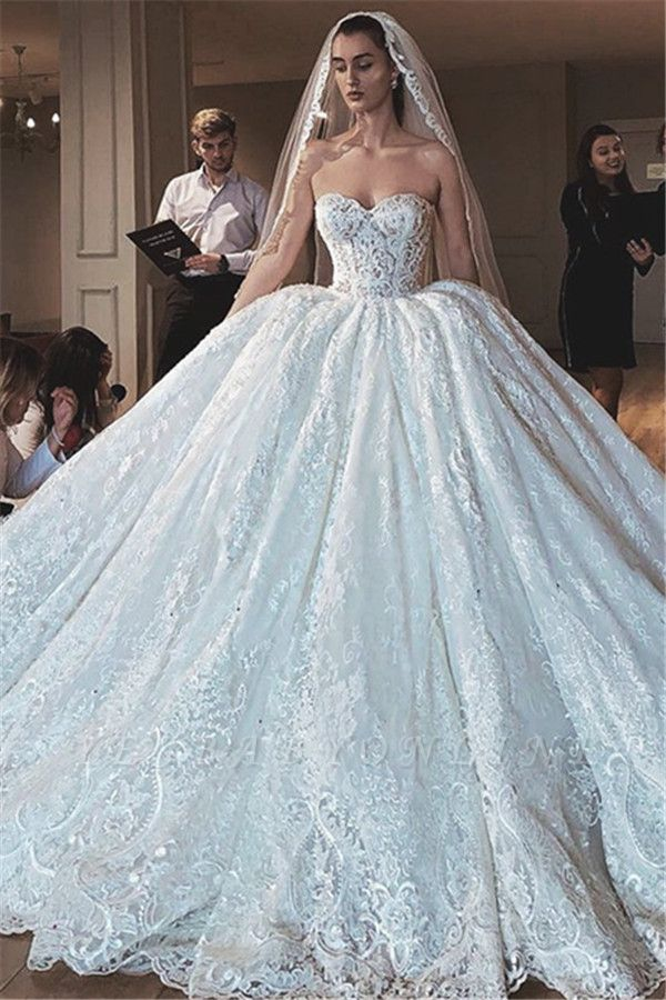 Strapless Sweetheart Ball Gown Wedding Dresses | Princess Lace Bridal Gowns