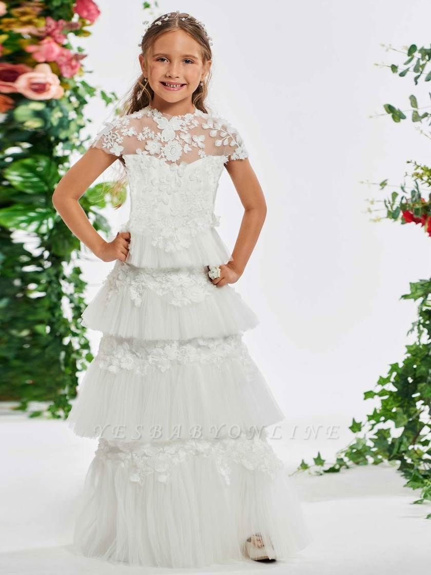 Lovely A-Line Tulle Cap Sleeve Layered Scoop Floor-Length Flower Girl Dress with Appliques