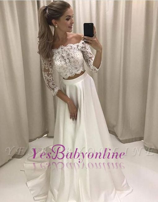 White Two-pieces Sweep-train Lace Off-the-shoulder Evening Dress