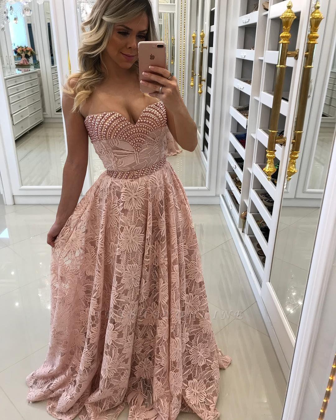 Sweetheart Elegant Long Sheath Pink Lace Prom Dresses