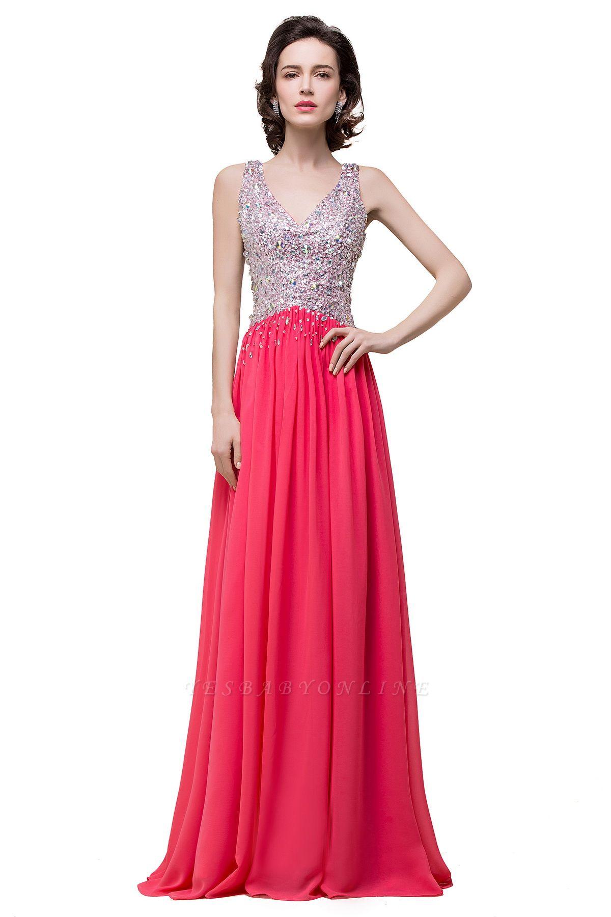V-Neck A-Line Open-Back Modest Sleeveless Crystal Prom Dress