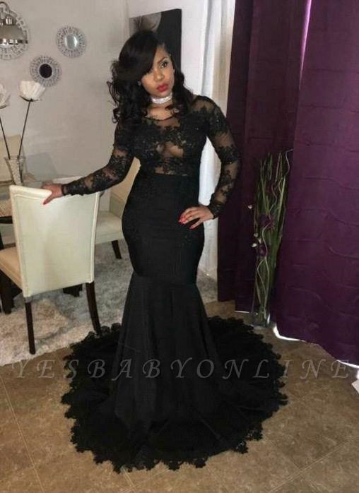 Sexy Black Mermaid Prom Dresses | Sheer Long Sleeves Evening Gowns