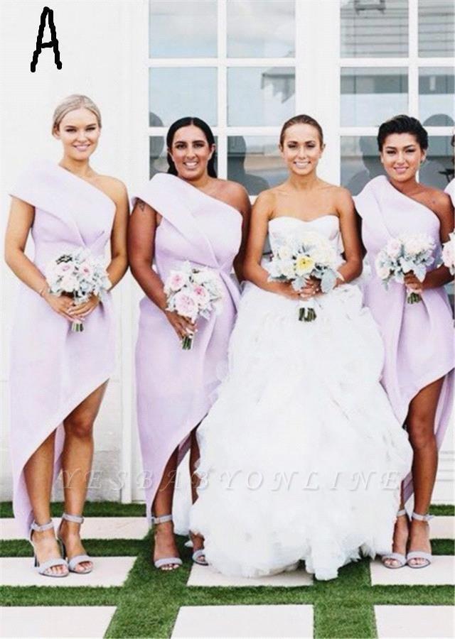 Long Hi-Lo Modest A-line One-Shoulder Sleeveless Bridesmaid Dress