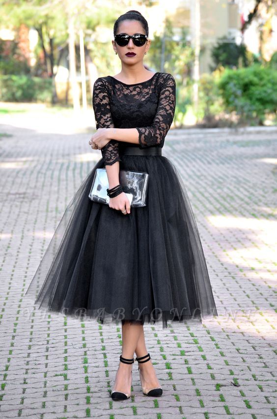 Tea-Length A-Line Tulle Popular Lace Black Evening Gowns