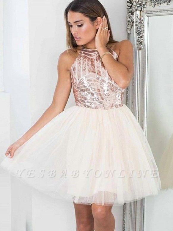 Elegant A-Line Short Homecoming Dresses | Sequined Halter Cocktail Dresses